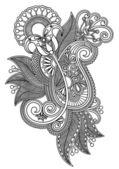 Hat sanatı süslü çiçek tasarım — Stok Vektör