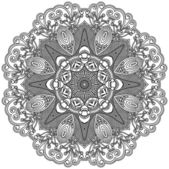 Circle ornament, ornamental round lace — Stok Vektör