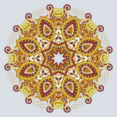 Circle ornament, ornamental round lace — Cтоковый вектор