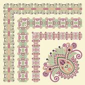 Floral vintage frame design. Vector set — Stock Vector