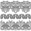 Black and white collection of seamless ornamental floral stripes — Stock Vector #13510897