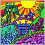 Artistic colored decorative landscape composition — Stock Vector