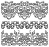 Black and white collection of seamless ornamental floral stripes — Stock Vector
