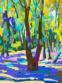 Original digital painting of summer landscape — Stock Vector