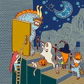 Original doodle artistic halloween card — Stock Vector