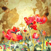 Original watercolor poppy flower in gold background — Stockvector