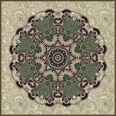Dekorativa runda spetsar i prydnadsväxter floral bakgrund — Stockvektor