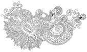 Original hand draw line art ornate flower design — Stock Vector