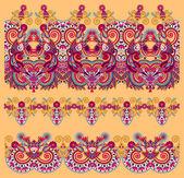 Colección de rayas flores ornamentales inconsútiles — Vector de stock