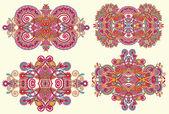 Four ornamental floral adornment — Stockvector