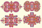 Fyra dekorativa blommig utsmyckning — Stockvektor