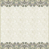 Ornate floral background with two ornament stripes — Stock vektor