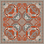 Traditional ornamental floral paisley bandanna — Stock Vector
