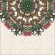 Ornate floral card with ornamental circle template — Stok Vektör