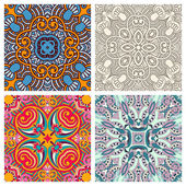 Four ornamental floral seamless texture collection — Stock Vector