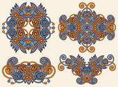 čtyři ozdobné květinovou ozdobou — Stock vektor
