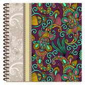 Disegno del coperchio ornamentale quaderno a spirale — Vettoriale Stock