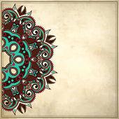グランジ背景で観賞用の花のパターン — ストックベクタ