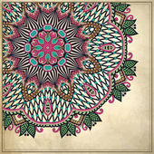 Grunge 背景中的观赏花卉图案 — 图库矢量图片