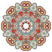 Cerchio fiore ornamento, ornamentale rotondo design pizzo — Vettoriale Stock