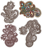 Collection of original hand draw line art ornate flower design — Vector de stock