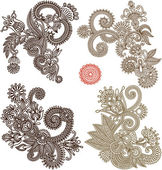 Collection of hand draw line art ornate flower design — Stock Vector