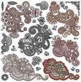 Collection of original hand draw line art ornate flower design — Stock Vector