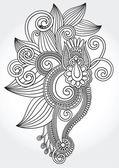 Black and white original hand draw line art ornate flower design — Stock Vector