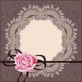 Motif ornemental carte avec serviette, ruban — Vecteur