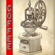 Sketch drawing of coffee grinder on grunge background — Imagen vectorial