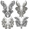 Collection of ornamental floral neckline embroidery fashion - Vettoriali Stock 