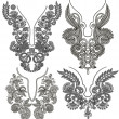 Collection of ornamental floral neckline embroidery fashion - Stockvectorbeeld