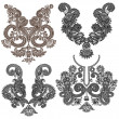 Collection of ornamental floral neckline embroidery fashion — Vektorgrafik