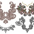Collection of ornamental floral neckline embroidery fashion - Stock Vector