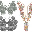 Collection of ornamental floral neckline embroidery fashion — Imagens vectoriais em stock