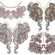 Collection of ornamental floral neckline embroidery fashion — Vettoriali Stock
