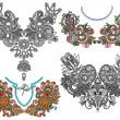 Collection of ornamental floral neckline embroidery fashion — 图库矢量图片