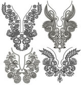 Collection of ornamental floral neckline embroidery fashion — Stok Vektör
