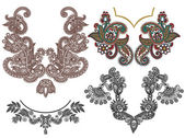 Collection of ornamental floral neckline embroidery fashion — Vector de stock