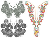 Collection of ornamental floral neckline embroidery fashion — Vettoriale Stock
