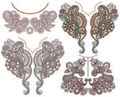 Collection of ornamental floral neckline embroidery fashion — Stock vektor