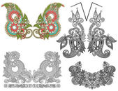 Collection of ornamental floral neckline embroidery fashion — ストックベクタ