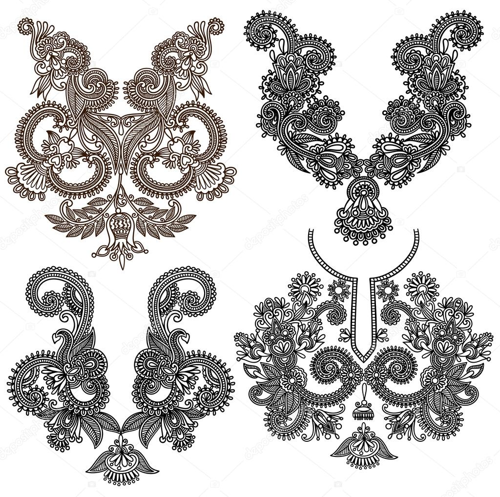 Collection of ornamental floral neckline embroidery fashion — Stock Vector #13593085