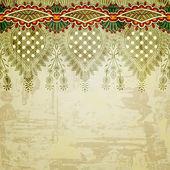 богато цветочный фон с полосой орнамент — Стоковое фото
