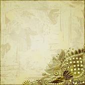цветочный дизайн на гранж-фон — Стоковое фото