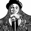Black and white artistic drawing of young witch in a hat and wit — Imagen vectorial