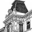 Digital drawing of Lviv (Ukraine) historical building — Image vectorielle