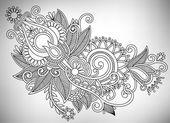 Hand tekenen lijn kunst sierlijke bloem design. oekraïense traditionele s — Stockvector
