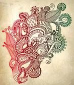 Mano dibujar línea arte recargado flor diseño. s tradicional ucraniano — Vector de stock