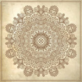 Flower circle design on grunge background with lace ornament — Stock Vector